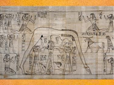 D'après Nout au-dessus de Geb, portée par Shou dieu Air, papyrus Greenfield, vers 950 - 930 avjc, fin XXI-début XXIIe dynastie, Égypte Ancienne. (Marsailly/Blogostelle)