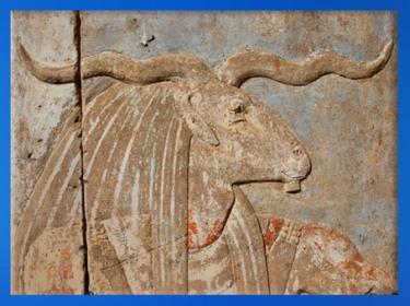 D'après le dieu Khnoum, temple de Satet, Éléphantine, XVIIIe dynastie, Nouvel Empire, Assouan, Égypte Ancienne. (Marsailly/Blogostelle)