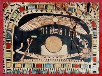 D'après le disque solaire, posé sur le hiéroglyphe de l'horizon, bois peint, XXVIe dynastie, Basse Époque,Égypte Ancienne. (Marsailly/Blogostelle)