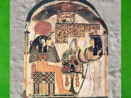 D'après Rê-Horakhty qui reçoit offrandes et libation, stèle de Dame Djedkhonsuiwesankh, vers 950–700 avjc, Égypte Ancienne. (Marsailly/Blogostelle)