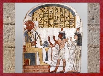 D'après Rê-Horakhty, stèle de Nakhtefmut, prêtre d'Amon, bois de sycomore, Troisième période Intermediaire, Égypte Ancienne. (Marsailly/Blogostelle)