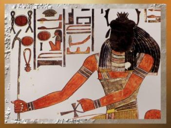 D'après Khépri, à tête de scarabée, le Soleil Levant, tombe de Nefertari, XIXe dynastie, Nouvel Empire, Égypte Ancienne. (Marsailly/Blogostelle)