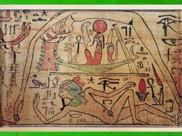 D'après le mythe du Premier Jour, séparation de Geb et de Nout, papyrus de Nespakachouty, vers 1090- 945 avjc, XXIe dynastie, Troisième période intermédiaire, Égypte Ancienne. (Marsailly/Blogostelle)