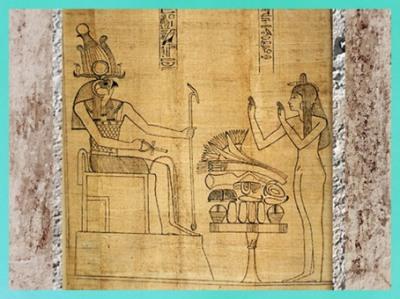D'après Rê-Horakhty, Livre des morts de Nestanebetisheru, papyrus Greenfield, vers 950 - 930 avjc, fin XXI-début XXIIe dynastie, Troisième période Intermédiaire,Égypte Ancienne. (Marsailly/Blogostelle)