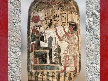 D'après Rê-Horakhty adoré par le prêtre Renpetmaa, bois enduit et peint, vers 900 avjc, XXIIe dynastie, Égypte Ancienne. (Marsailly/Blogostelle)