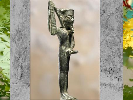 D'après le dieu Min, bronze, XVIe-XXXe dynastie, vers VIe-IVe siècle avjc, Basse époque, Égypte Ancienne. (Marsailly/Blogostelle)