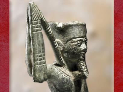D'après le dieu Min et son flabellum, bronze, XVIe-XXXe dynastie, vers VIe-IVe siècle avjc, Basse époque, Égypte Ancienne. (Marsailly/Blogostelle)
