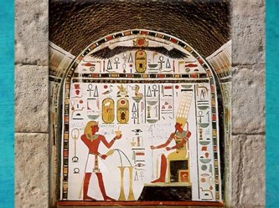 D'après Amon-Rê et Thoutmosis III, libation et offrande d'enscens, chapelle d'Hathor, XVIIIe dynastie, Nouvel Empire, Deir el-Bahari, Égypte Ancienne. (Marsailly/Blogostelle)