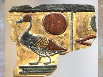 D'après un palmipède et disque solaire, relief peint, hiéroglyphe Fil de Rê, calcaire, tombeau de Séthi Ier, XIXe dynastie, Égypte Ancienne. (Marsailly/Blogostelle)