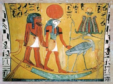D'après le dieu Soleil Rê et l'oiseau benou coiffé de la couronne Atef dans la barque solaire, peinture funéraire, vers 1200 avjc, Nouvel Empire, Égypte Ancienne. (Marsailly/Blogostelle)