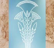 D'après le motif antique égyptien de la fleur de lotus, symbole de naissance ou renaissance, Égypte Ancienne. (Marsailly/Blogostelle)
