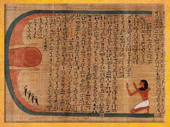 D'après un Hymne à Rê, papyrus d'Imenemsaouf, XXI-XXIIe dynastie, Troisième période intermédiaire, vers 1090 - 663 avjc, Égypte Ancienne. (Marsailly/Blogostelle)
