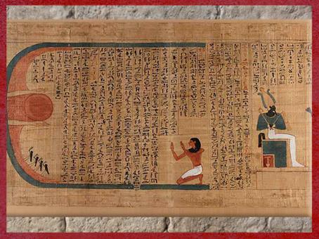 D'après un Hymne à Rê, et Osiris trônant, papyrus d'Imenemsaouf, XXI-XXIIe dynastie, Troisième période intermédiaire, vers 1090 - 663 avjc, Égypte Ancienne. (Marsailly/Blogostelle)
