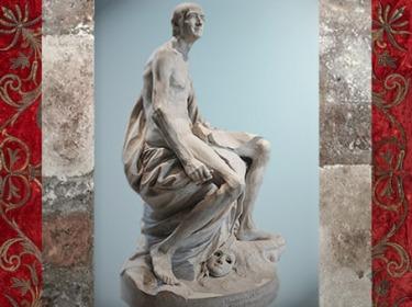 D'après Voltaire nu, de Jean-Baptiste Pigalle, marbre, 1776 apjc, XVIIIe siècle. (Marsailly/Blogostelle)
