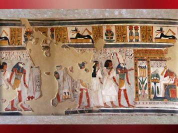 D'après Rê-Horakhty, les 4 fils d'Horus et Osiris, tombe civile, début XIXe dynastie, Thèbes, Nouvel Empire, Égypte Ancienne. (Marsailly/Blogostelle
