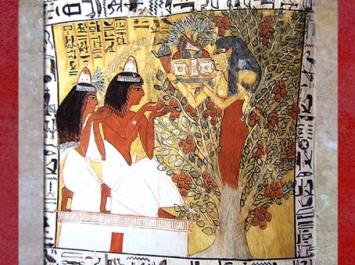 D'après la déesse Nout et l'arbre sacré, le défunt et son épouse Iyneferti, tombe de Sennedjem, XIXe dynastie, Nouvel Empire, Deir el-Medineh, Égypte Ancienne. (Marsailly/Blogostelle)
