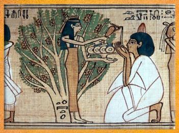 D'après la déesse Nout, qui désaltère le défunt et lui offre des fruits, Livre pour Sortir au Jour (Livre des Morts) de Khensumose, prêtre d'Amon-Rê, XXIe dynastie, Égypte Ancienne. (Marsailly/Blogostelle)