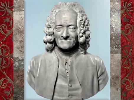 D'après un buste de Voltaire par le sculpteur Jean-Antoine Houdon, 1778 apjc, XVIIIe siècle. (Marsailly/Blogostelle)