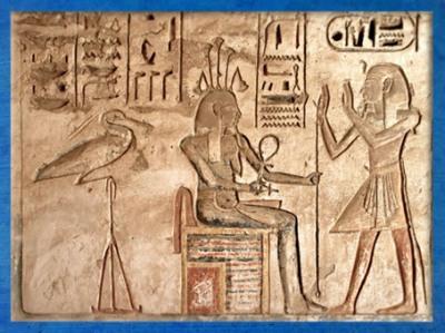 D'après l'oiseau benou, le dieu Nil Hapy et pharaon, relief en creux, tombeau de Ramsès III, Medinet Abou, Thèbes, Nouvel Empire, Égypte Ancienne. (Marsailly/Blogostelle)