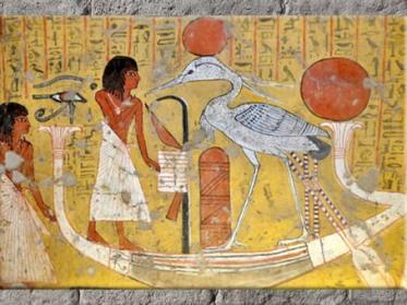 D'après le défunt Irynefer sur la barque avec l'oiseau benou, Deir el-Médineh, période ramesside, Nouvel Empire, Égypte Ancienne. (Marsailly/Blogostelle)