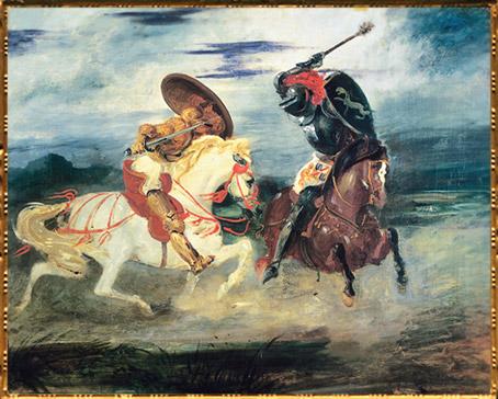 D'après un combat de chevaliers dans la campagne, Eugène Delacroix, 1830 apjc, XIXe siècle. (Marsailly/Blogostelle)