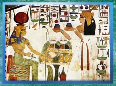 D'après la déesse Hathor, qui reçoit les offrandes de la reine Nefertari, époque de Ramsès II, petit temple d'Abou Simbel, XIXᵉ dynastie, Nouvel Empire, Égypte Ancienne. (Marsailly/Blogostelle)