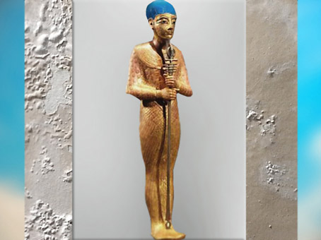 D'après le dieu Ptah, bois, or et pâte de verre, trésor de Toutânkhamon, XVIIIe dynastie, Nouvel Empire, Égypte Ancienne. (Marsailly/Blogostelle)