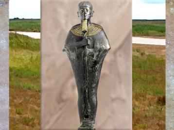 D'après Ptah enveloppé dans son habit moulant, bronze, or et électrum, vers 663-332 avjc, XXVIe dynastie, Basse Époque, Égypte Ancienne. (Marsailly/Blogostelle)
