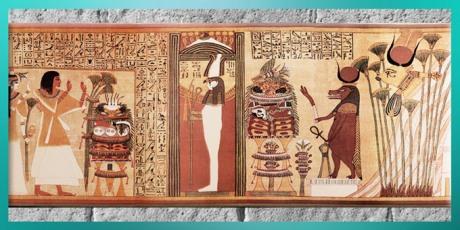 D'après le dieu Rê-Horakhty momifié et la déesse Vache Hathor, papyrus d'Ani, XIXe dynastie, vers 1319 - 1196 avjc, Nouvel Empire, Égypte Ancienne. (Marsailly/Blogostelle)