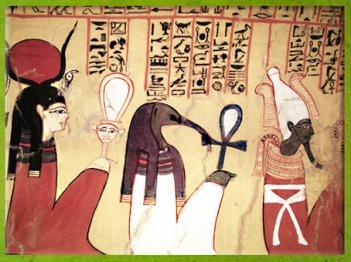 D'après la déesse Hathor, Toth et Osiris, tombe de Pashedu (ou Pashed), XVIIIe-XXe dynasties, Nouvel Empire, Deir El Medineh, Nouvel Empire, Égypte Ancienne. (Marsailly/Blogostelle)