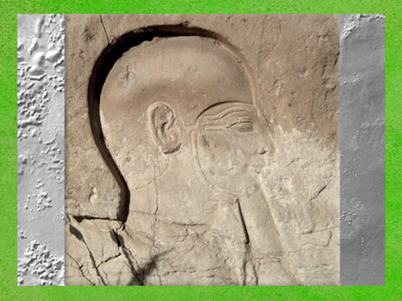 D'après le dieu Ptah, relief, petit temple d'Hathor, Memphis, XIXe dynastie, Nouvel Empire, Égypte Ancienne. (Marsailly/Blogostelle)