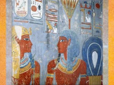 D'après Nefertoum coiffé du nénuphar-lotus, tombe de Horemheb, XVIIIe dynastie, Nouvel Empire, Thèbes, Égypte Ancienne. (Marsailly/Blogostelle)