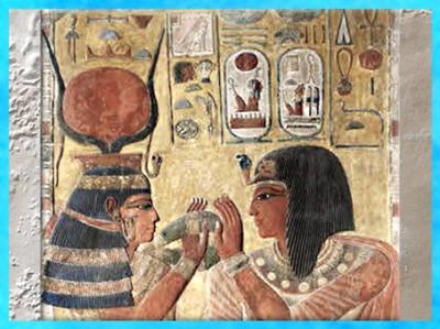D'après Hathor, le collier menat et Séthi Ier, calcaire peint, tombe de Séthi Ier, XIXe dynastie, Vallée des Rois, Nouvel Empire, Égypte Ancienne. (Marsailly/Blogostelle)