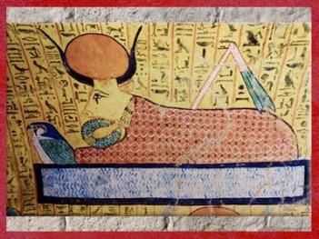 D'après la Vache Céleste-Hathor, parée du collier menat, tombe d'Irynefer, contremaître, XIXe dynastie, époque Ramsès II, Nouvel Empire, Vallée des artisans, Deir el-Medineh, Égypte Ancienne. (Marsailly/Blogostelle)
