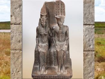 D'après la déesse Mout et son époux Amon-Rê, statuette dédicacée par Mérymaât, vers 1550 - 1069 avjc, Nouvel Empire, Égypte Ancienne. (Marsailly/Blogostelle)