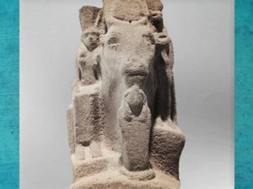 D'après Hathor, vache coiffée du disque solaire, déesse femme et Sekhmet à tête de lionne, quartzite, vers 663 - 332 avjc, Basse Époque, Égypte Ancienne. (Marsailly/Blogostelle)