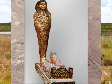 D'après Ptah-Sokar-Osiris, statuette au nom de Iahmes, bois peint, vers 663- 525 avjc, Basse époque, Égypte Ancienne. (Marsailly/Blogostelle)