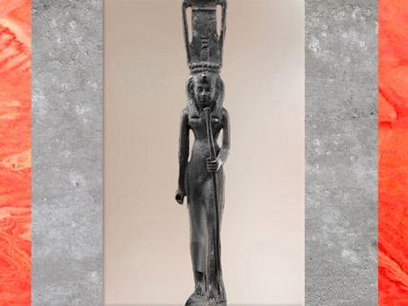 D'après Hathor Nebethetepet, statuette en bronze, vers 663-332 avjc, Basse époque, Égypte Ancienne. (Marsailly/Blogostelle)