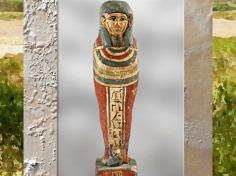 D'après Ptah-Sokar-Osiris au nom de Takhabes, statuette, bois stuqué et peint, vers 663- 525 avjc, Basse époque, Égypte Ancienne. (Marsailly/Blogostelle)