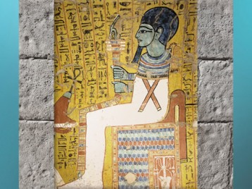 D'après le dieu Ptah, sceptre ouas-pilier Djed, peinture, tombe d'Irynéfer, XIXe dynastie, sous Ramsès II, Deir el-Médineh, Nouvel Empire, Égypte Ancienne. (Marsailly/Blogostelle)