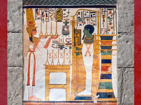 D'après le dieu Ptah et le pilier Djed d'Osiris, tombe de Néfertari, épouse de Ramsès II, XIXe dynastie, Nouvel Empire, Égypte Ancienne. (Marsailly/Blogostelle)
