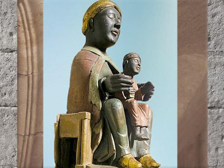 D'après une Vierge Noire à l'Enfant, Meymac, Corrèze, France, XIIe siècle, art médiéval. (Marsailly/Blogostelle)