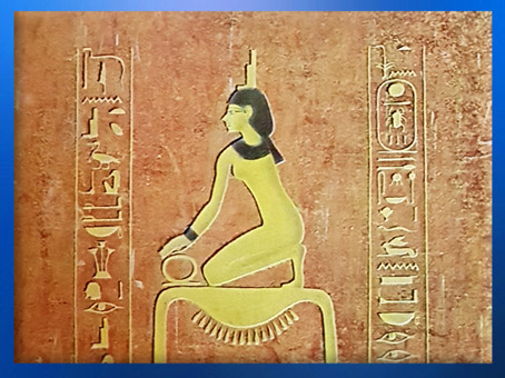 D'après la déesse Isis, le signe de l'or et l'anneau de l'infini, détail, sarcophage d'Aménophis II, vallée des rois, Thèbes, Nouvel Empire, Égypte Ancienne. (Marsailly/Blogostelle)