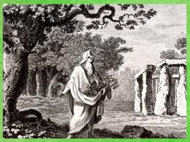 l'imagerie du druide, avec gui, chêne et mégalithes, Les Antiquités d'Angleterre et du Pays de Galles, de Grose, Londres, détail, XVIIIe siècle. (Marsailly/Blogostelle)