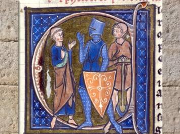 D'après l'ecclésiastique, le chevalier et le paysan, Image du monde, Aldobrandino de Siena, France, XIIIe siècle, manuscrit enluminé, art médiéval. (Marsailly/Blogostelle)