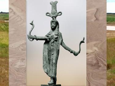 D'après la déesse Isis et serpents, bronze, Ier siècle apjc, époque Ptolémaïque-Romaine, Égypte Ancienne. (Marsailly/Blogostelle)