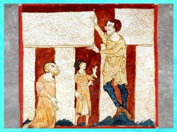 D'après le druide Merlin aidé d'un géant pour construire Stonehenge, manuscrit du Roman de Brut, Wace, XIIe siècle, art médiéval. (Marsailly/Blogostelle)