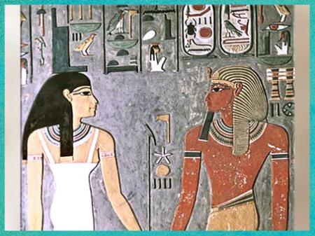 D'après la déesse Isis et Horemheb, XVIIIe dynastie, tombe de Horemheb, Thèbes, Nouvel Empire, Égypte Ancienne. (Marsailly/Blogostelle)
