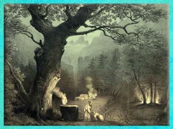 D'après La Forêt des druides, scène du Théâtre Royal Italien à Paris, Bellini, opéra de Norma, estampe, 1837, dessin de Kunstler Villeneuve, XIXe siècle. (Marsailly/Blogostelle)