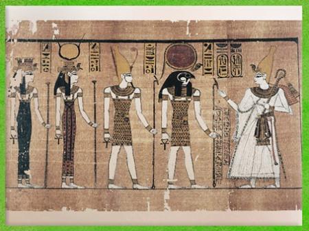 D'après le dieu Soleil Rê-Horakhty, Hathor, Isis et Osiris, dieux d'Héliopolis, époque de Ramsès III, papyrus Harris, XXe dynastie, Nouvel Empire, Égypte Ancienne. (Marsailly/Blogostelle)